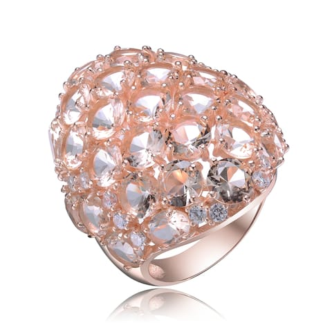 Collette Z Sterling Silver with Rose Gold Plated Morganite Oval and Round Cubic Zirconia Cluster Cocktail Ring