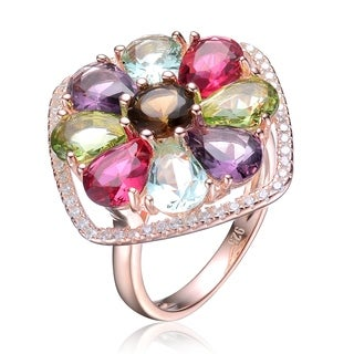 Collette Z Sterling Silver with Rose Gold Plated Multi Colored Pear with Round Cubic Zirconia Flower Ring