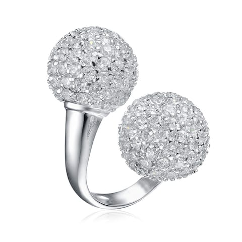 Collette Z Sterling Silver with Rhodium Plated Clear Round Cubic Zirconia Cluster Ball Open Ring