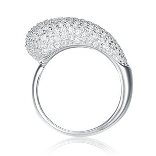Collette Z Sterling Silver With Rhodium Plated Clear Round Cubic Zirconia Cluster Graduated Ring Band