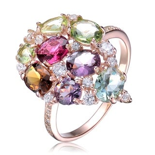 Collette Z Sterling Silver with Rose Gold Plated Multi Colored Oval and Round Cubic Zirconia Pave Ring