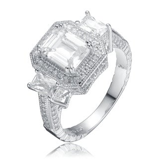 Collette Z Sterling Silver with Rhodium Plated Clear Emerald and Radiant Cubic Zirconia Halo Three-Stone Engagement Ring