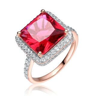 Collette Z Sterling Silver with Rose Gold Plated Ruby Red Asscher Cubic Zirconia Solitaire with Halo Ring