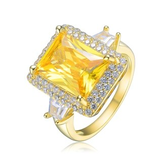 Collette Z Sterling Silver with Gold Plated Yellow Radiant with Clear Tapered Baguette Cubic Zirconia Halo Three-Stone Ring