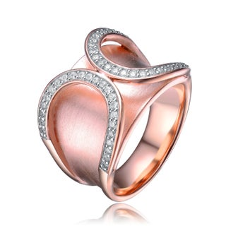 Collette Z Sterling Silver with Rose Gold Plated Clear Round Cubic Zirconia Pave Wrap Inspired Cocktail Ring
