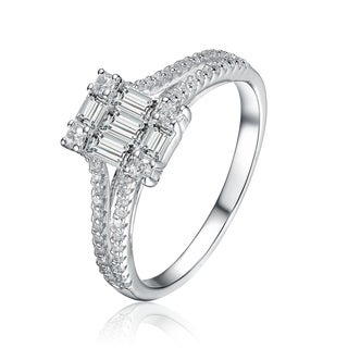 Collette Z Sterling Silver with Rhodium Plated Clear Baguette with Round Cubic Zirconia Cluster Engagement Ring