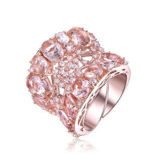 Collette Z Sterling Silver with Rose Gold Plated Morganite Oval and Round with Clear Round Cubic Zirconia Cocktail Ring