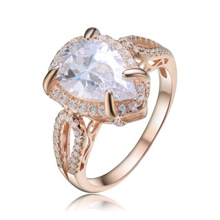 Collette Z Sterling Silver with Rose Gold Plated Split Shank Clear Pear with Round Cubic Zirconia Halo Filigree Engagement Ring