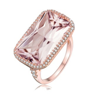 Collette Z Sterling Silver with Rose Gold Plated Clear Radiant with Round Cubic Zirconia Halo Pave Cocktail Ring