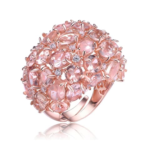 Collette Z Sterling Silver with Rose Gold Plated Morganite Multi Shaped with Clear Round Cubic Zirconia Cluster Cocktail Ring