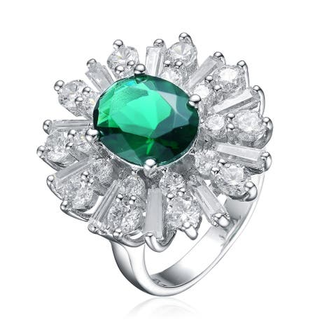 Collette Z Sterling Silver with Rhodium Plated Emerald Green Oval with Clear Baguette and Round Cubic Zirconia Accent Ring