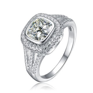 Collette Z Sterling Silver with Rhodium Plated Clear Cushion with Round Cubic Zirconia Accent Double Split Band Engagement Ring