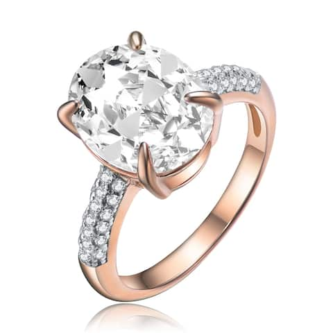 Collette Z Sterling Silver with Rose Gold Plated Clear Oval Solitaire with Round Cubic Zirconia Layered Pave Engagement Ring