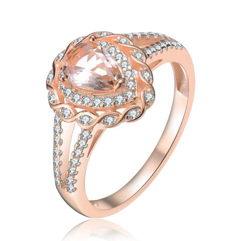 24d0aabe3a6545 Collette Z Sterling Silver with Rose Gold Plated Morganite Pear with Clear  Round Cubic Zirconia Infinity