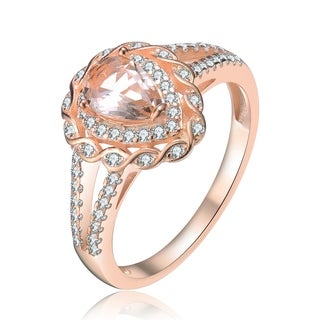 Collette Z Sterling Silver with Rose Gold Plated Morganite Pear with Clear Round Cubic Zirconia Infinity Halo Split Ring Band