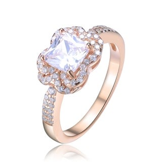 Collette Z Sterling Silver with Rose Gold Plated Clear Cushion with Round Cubic Zirconia Layered Halo Engagement Ring
