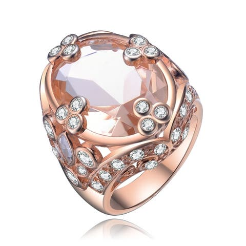 Collette Z Sterling Silver with Rose Gold Plated Morganite Oval with Clear Round Cubic Zirconia Accent Filigree Cocktail Ring