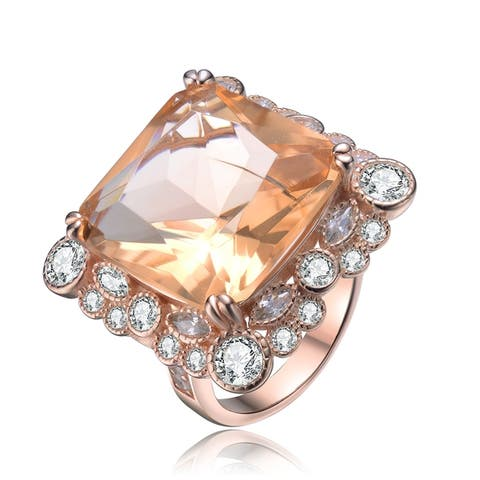 Collette Z Sterling Silver with Rose Gold Plated Morganite Cushion with Round and Marquise Cubic Zirconia Halo Cocktail Ring