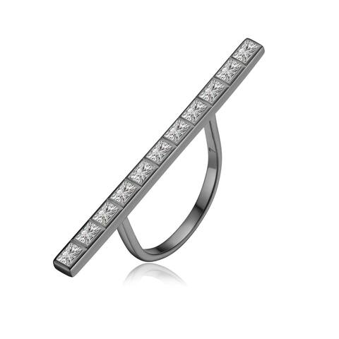Collette Z Sterling Silver with Black Plated Clear Baguette Cubic Zirconia Pave Long Bar Ring
