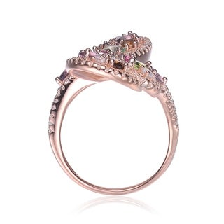 Collette Z Sterling Silver with Rose Gold Plated Multi Colored Pear Oval and Round Cubic Zirconia Swirl Bypass Ring