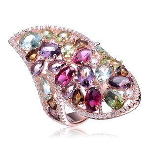 Collette Z Sterling Silver with Rose Gold Plated Multi Colored Pear Oval and Round Cubic Zirconia Cocktail Ring