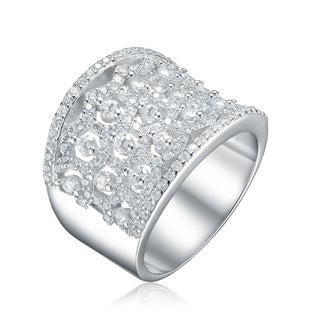 Collette Z Sterling Silver with Rhodium Plated Clear Round Cubic Zirconia Three Row Pave Cocktail Ring
