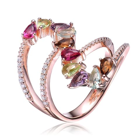 Collette Z Sterling Silver with Rose Gold Plated Split Shank Multi Colored Pear with Clear Round Cubic Zirconia Bypass Ring