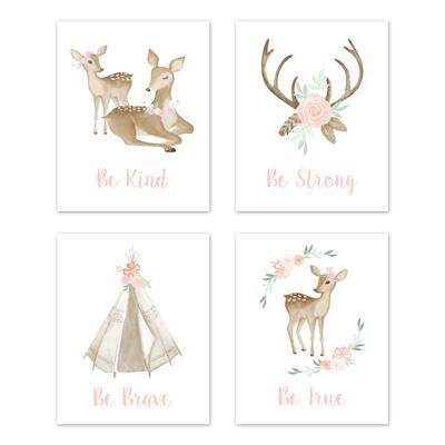 Sweet Jojo Designs Blush Pink Mint Boho Woodland Deer Floral Collection Wall Decor Art Prints (Set of 4) - Be Kind