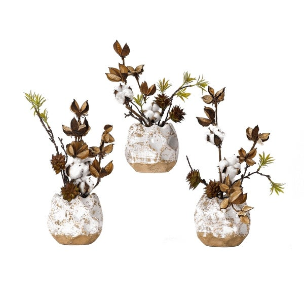 D&W Silks Cotton Branches in Ceramic Planters (Set of 3)