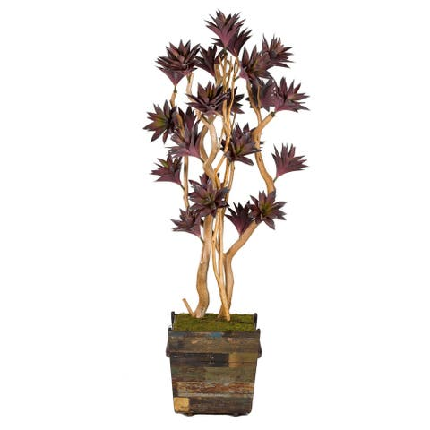7-feet Green/ Lavender Agave Tree in Square Wooden Planter