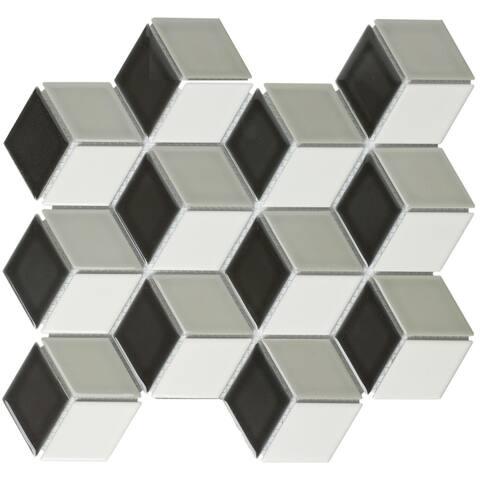 Paris Rhombus Glazed Porcelain Mosaic Tile Glossy Black/White/Gray