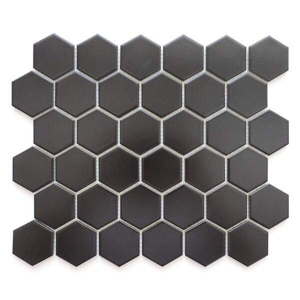 Barcelona Hexagon Glazed Porcelain Mosaic Tile Matte Black