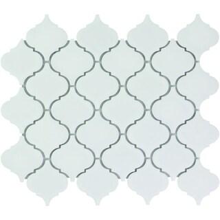 Paris Arabesque Lantern Glazed Porcelain Mosaic Tile Matte White (Case of 10 sheets / 7.7 sq. ft.)