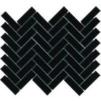 Paris Herringbone Glazed Porcelain Mosaic Tile Matte Black (Case of 10 sheets / 8.5 sq. ft.)