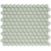 Barcelona Hexagon Glazed Porcelain Mosaic Tile Glossy Green With Retro Edge (Case of 10 sheets / 8.5 sq. ft.)