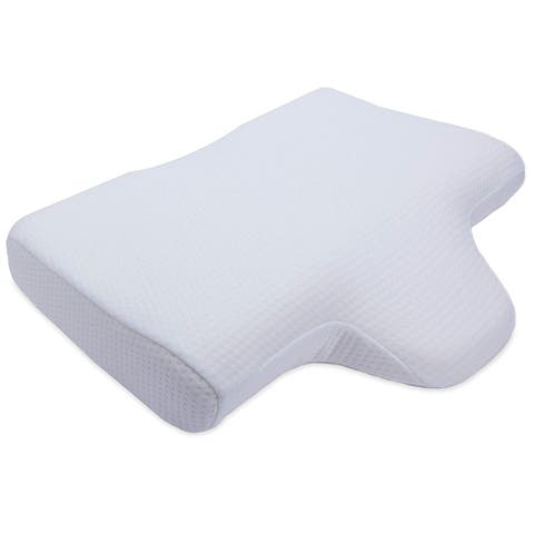 Cheer Collection Memory Foam Contoured Neck Pillow with Center Cavity Head Support and Wedge Extension - White