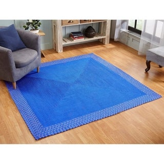Indoor Outdoor Braided Rug 6X6 Square Blue