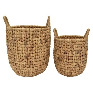 Three Hands Set Of Two Water Hyacinth Baskets