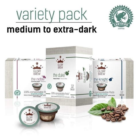 GLORYBREW  Variety Pack - 36 count 100% Compostable Coffee Pods for Keurig K-Cup Brewers