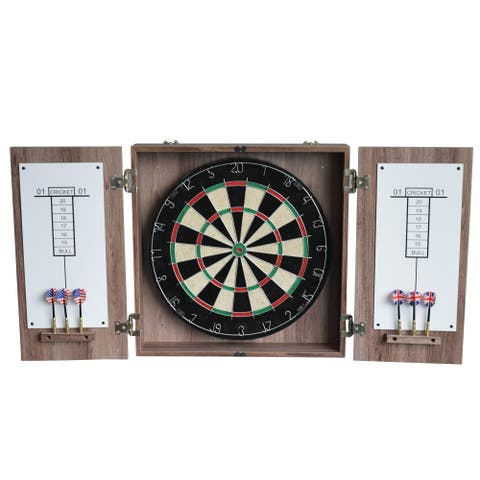 Winchester Dartboard Cabinet with Sisal Fiber for Steel Tip Darts - Driftwood Finish