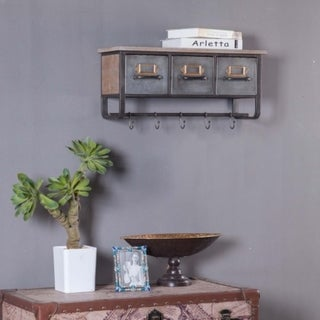 Metal and Wood Wall Cubby Organizer