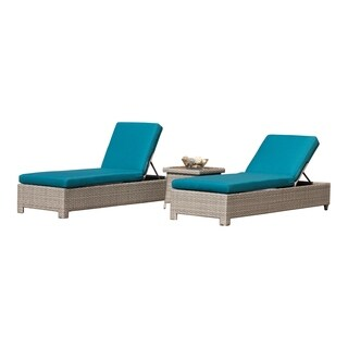 Abbyson Saratoga 3-Piece Chaise Lounge Set - Teal