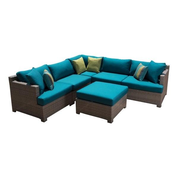 Shop Abbyson Saratoga 6-Piece Modular Seating Set - Teal ... on Safavieh Outdoor Living Granton 5 Pc Living Set id=35325