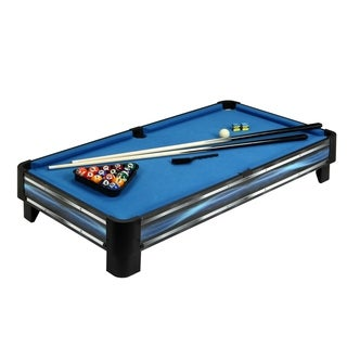 Breakout 40-in Tabletop Pool Table - Blue and Silver Finish