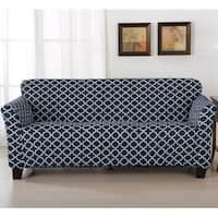 Home Fashion Designs Brenna Collection Trellis Print Stretch Form-Fitted Sofa Slipcover in Beige (As Is Item)