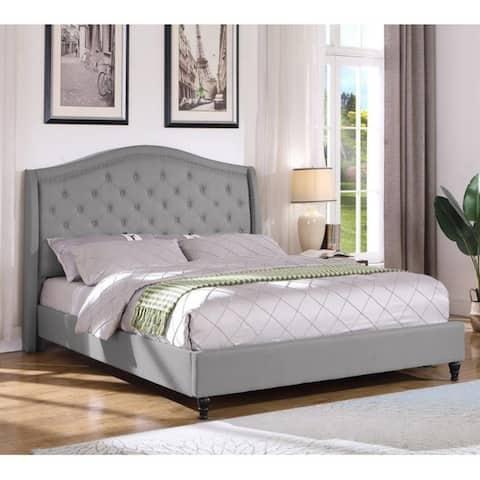 Best Master Furniture Upholstered Tufted Platform Bed