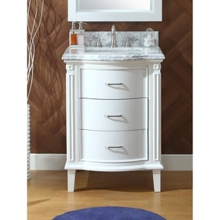 "26"" Benton Collection Tigan White Slim Small Home Bathroom Sink Vanity"