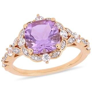 Miadora 14k Rose Gold Rose de France White Sapphire and Diamond Engagement Ring