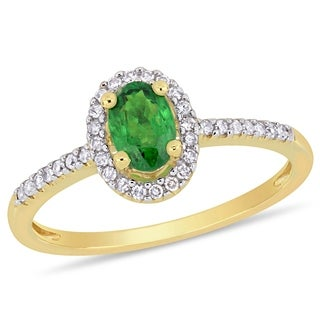 Miadora 10k Yellow Gold Tsavorite and 1/8ct TDW Diamond Halo Engagement Ring