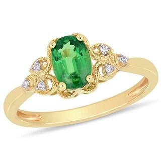 Miadora 10k Yellow Gold Tsavorite and Diamond Accent Vintage Ring